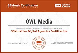 Сертификат SEMrush for Digital Agencies
