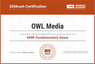 Сертификат SEMrush SMM основы