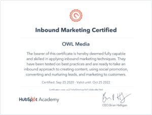 Сертификат Hubspot Inbound Marketing